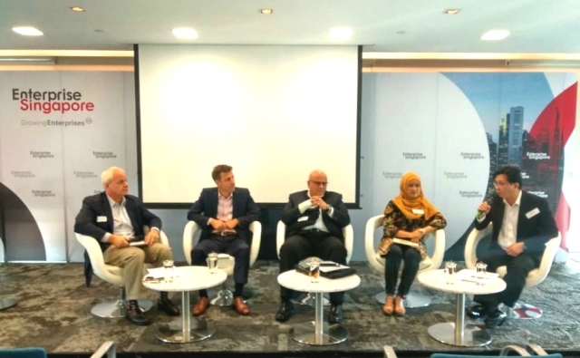 Apical Group Director of Sustainability Bremen Yong speaks as a panelist at Enterprise Singapore's Sustainability Forum